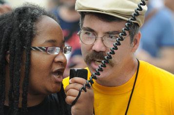 NCIL Protesters with a Bullhorn Mic