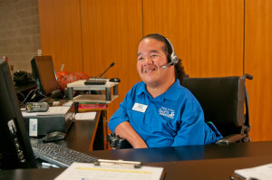 A person with a disability working in an office
