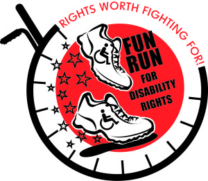 FUN RUN for Disability Rights 2014 Logo - Rights worth fighting for!