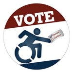 VOTE Emblem features the universal sybol of accessibility holding a paper with Choice check marked and Option unchecked