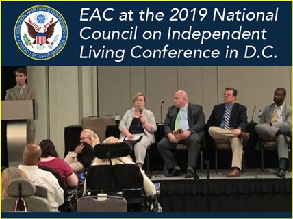 EAC Commissioners address the audience at NCIL's 2019 Annual Conference on Independent Living