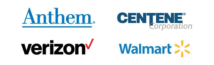 Top Sponsor Logos: Anthem, Centene Corporation, Verizon, and Walmart