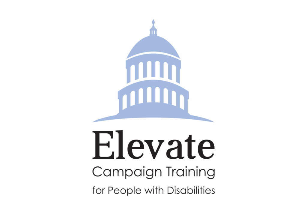 Elevate Logo - Campaign Training for People with Disabilities. Graphic features the US Capitol Rotunda.
